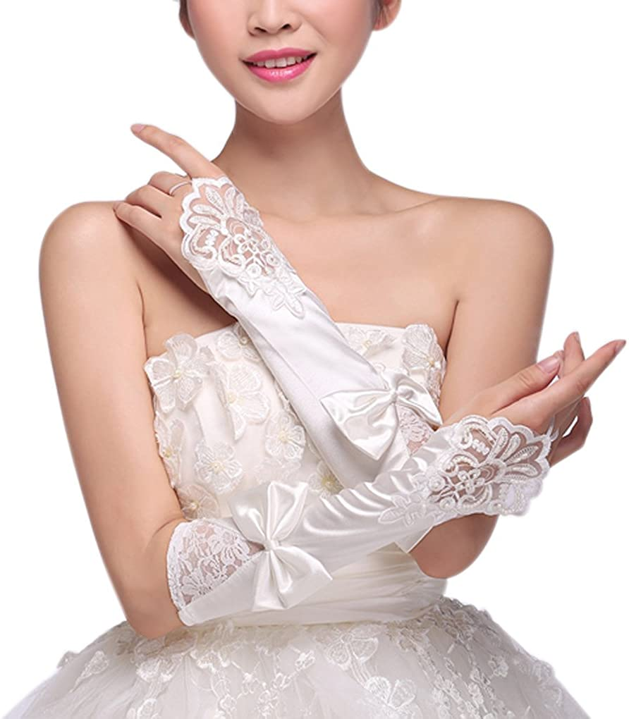 Women Fingerless Lace Sequins Satin Gloves with Bowknot Bridal Party Gloves Bride Wedding Translucent Silk Mitten