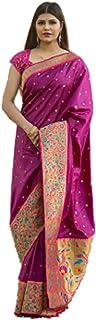 بلوزة ساري حريرية ناعمة من تصميم أرجواني هندي للسيدات من بوليوود مع رقعة منسوجة من الحدود الاحتفالية 6073