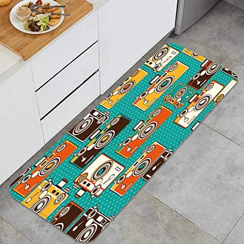Cocina Antideslizante Alfombras de pie Vintage Coloridas cámaras de Fotos de Patrones sin Fisuras Decoración de Piso Confortables para el hogar, Fregadero, lavandería-120cm x 45cm