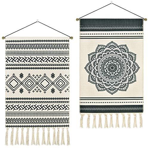 2 Pcs Macrame Woven Tapestry Bohemian Mandala Tapestries Geometric Art Tapestry Dark Gray Tapestry...