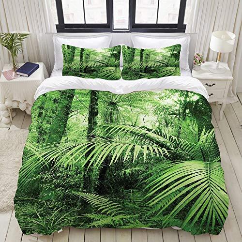 PENGTU Parure de lit avec Housse de Couette en Microfibre,Palmiers et Plantes Exotiques dans la Jungle Tropicale Nature Sauvage Zen Theme,Sets de Housse de Couette 140x200cm+2 taie d'oreiller 50x75cm