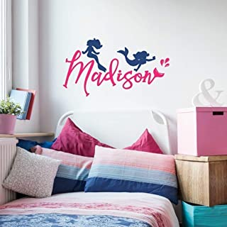 Personalized Mermaid Wall Decal, Mermaid Silhouette Sticker, Over 30 Colors and Several Sizes