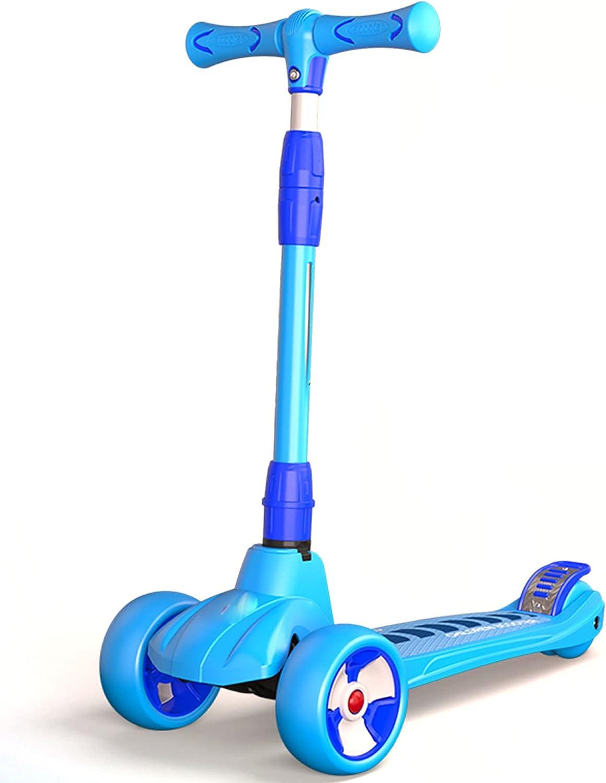El scooter plegable es adecuado para niños de 2 a 14 años, cuatro ruedas con ruedas de PU luminosas, adecuado para niños y niñas, scooter para niños, altura ajustable -B/A