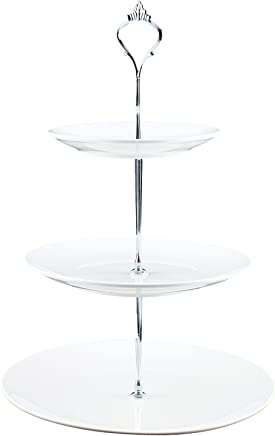 or Birthday Parties Homend 3 Tier Round Serving Tray Platters Tea Party Appetizer or Dessert Cupcakes And Cake Stand Great for Weddings Round Edge, Silver Handle Holiday Dinners