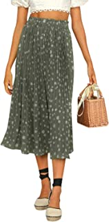 Women's Chiffon High Waist Pleated Midi Skirts Boho Floral Print Skirt