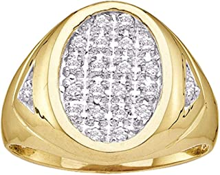 14kt Yellow Gold Mens Round Diamond Oval Cluster Ring 1/4 Cttw Multiple Ring Sizes Available