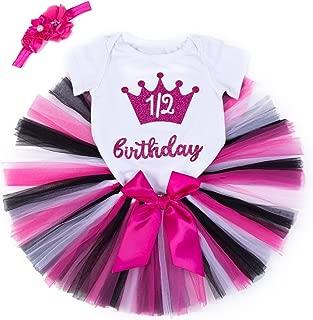 Baby Girls Skirt Set 1st Birthday Tee/Handmade Tutu Skirt 3PCS Romper Skirt and Headband