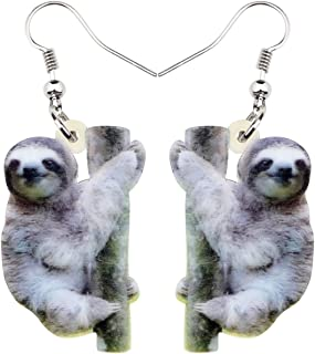 NEWEI Acrylic Unique South American Sloth Earrings Dangle Drop For Women Girl Wild Animal Jewelry Charm Gifts