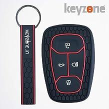 keyzone® Keycare® Silicone Key Cover for Tata Harrier Smart Key with Keyring (Black)