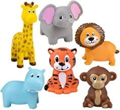 Zoo Animals 2 Inch Vinyl Squeezable Animals - 12 Pack and 1 Vortex Eraser - Cake Toppers, Prizes, Stocking Stuffers, Animal Parties