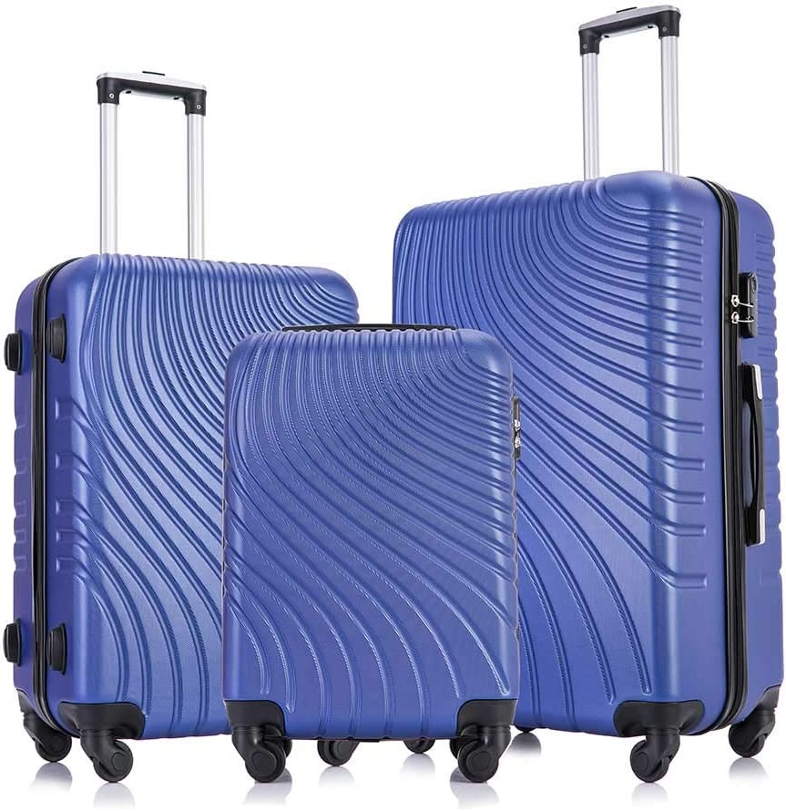 Apelila 3 Max 53% OFF Large-scale sale Piece ABS Luggage Sets Shell with Wheels Hard Spinner