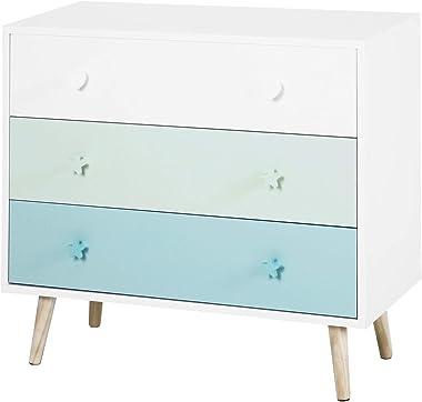 HOMCOM Meuble de Rangement pour Enfant Commode scandinave 3 tiroirs dim. 90L x 42l x 80H cm MDF Blanc Bleu Bois Massif pin