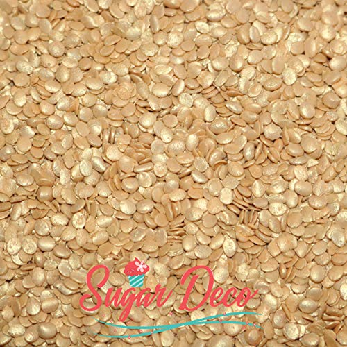 Gold Sequins - 10 Ounces - Flat Round Edible Sprinkles - Cupcake Decorations