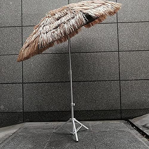 WQF Sombrilla de jardín Plegable, sombrilla de Paja Hawaiana, sombrilla de Playa al Aire Libre antiviento, sombreado y enfriamiento efectivos, con función de Poste de sombrilla inclinable, sombr