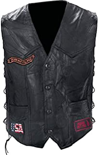 Diamond Plate Rock Leather Bike VEST-M Black