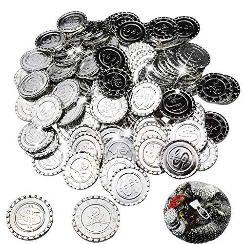 BESTZY 100 Pcs Pièce d'argent,Pirates Argent - Coins,Trésor de Pirate,Parti Pirate,Anniversaire des Enfants,Décoration,Jouer de l'argent (Signe du Dollar / Pirate à Double Couteau)