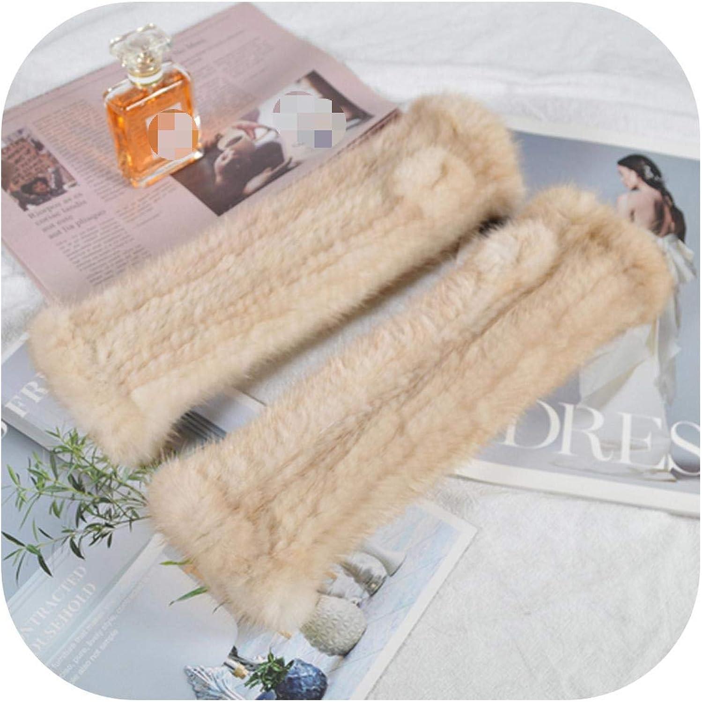 Lady 30cm Real Mink Fur Gloves Women Knit Real Mink Fur Fingerless Gloves Girls Good Elastic Real Mink Fur Mittens-beige yellow-One Size