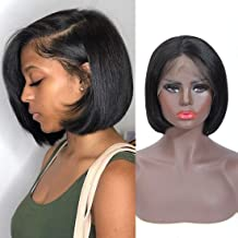 8A Short Bob Wigs 13x4 Lace Front 100% Human Hair Wigs for Women Brazilian Virgin Hair Straight Bob Wig Can Be Dyed (8 Inches with 130% Density)