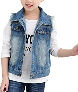Zhhlaixing 高品質の Cute Girls Simple Demin Vest Outwear Classic Kids Sleeveless Jacket Tops