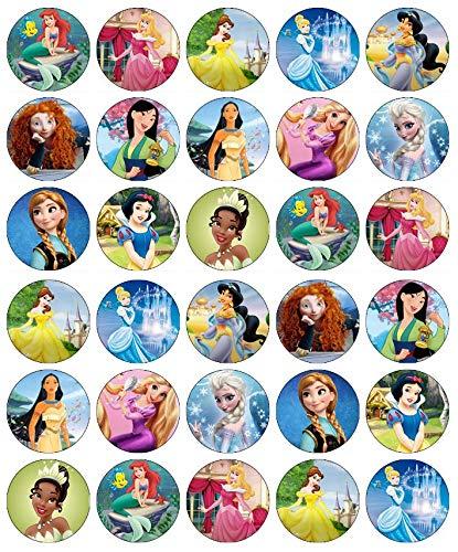 30 decoraciones comestibles con diseño de princesas Disney. Papel de oblea para pasteles y magdalenas de cumpleaños