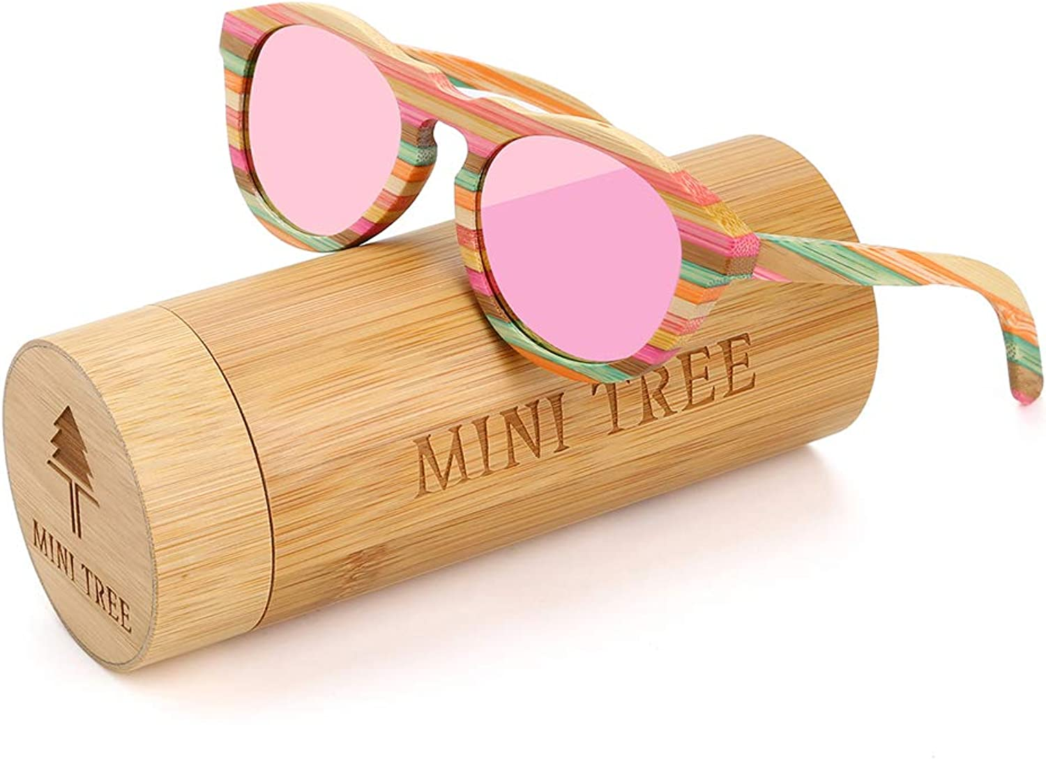 Bamboo Polarized Sunglasses Round Glasses for Women Mini Tree Sun Shades With Case