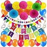 Zerodeco Decorazione Festa di Compleanno, Bandiere Happy Birthday e Pompon Fiori, Ghirlande, Bandierine Triangolare, Decorazioni Pendenti, Palloncini in Lattice - Multicolore