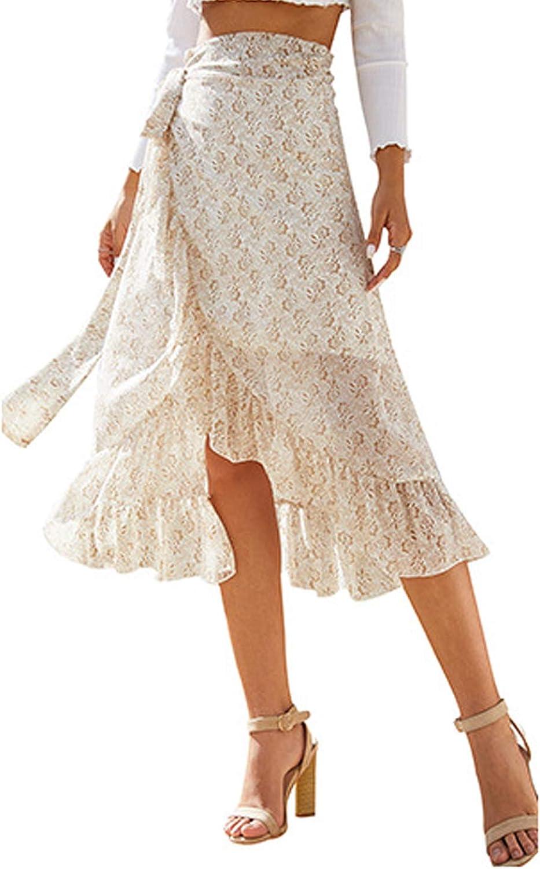Women Casual Floral Skirt High Waist Slim Chiffon Ruffle Long Skirt