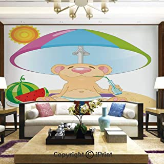Lionpapa_mural Removable Wall Mural Ideal to Decorate Bedroom,or Office,Bear on The Beach Sunbathing Summer Day with Watermelon Children Cheerful Design,Home Decor - 100x144 inches