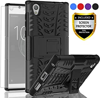 AYMECL Xperia L1 Phone Case,Xperia L1 Case,Tire Pattern Design Heavy Duty Dual Layer Shock Resistant Armor Kickstand Cover with HD Screen Protector for Xperia L1-HN Black