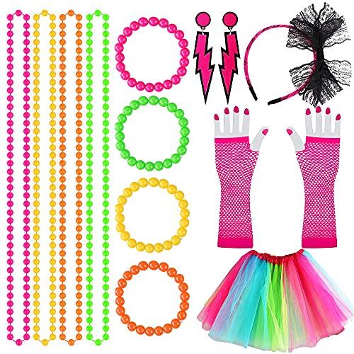 80s Accesorios de Traje de Vestido Mujer y la Niña, Retro Fiesta con Vestido de Color del Arco Iris Neón Collares Encaje Aros Venda Malla Guantes Cuentas Collar 1980 Fiesta Disfraz (6 Piezas)