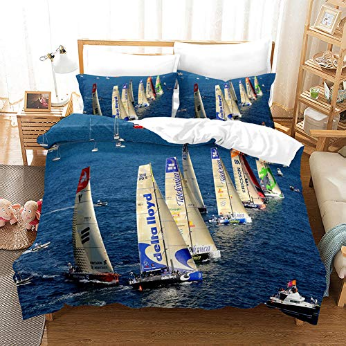 FAIEK Duvet Cover Double bed Sailing boat 180x200cm Printed Polyester with Zipper Closure Bedding Easy Care Anti-Allergic Soft Smooth with Pillow Cases 3 pcs set,ocean sailboat landscape