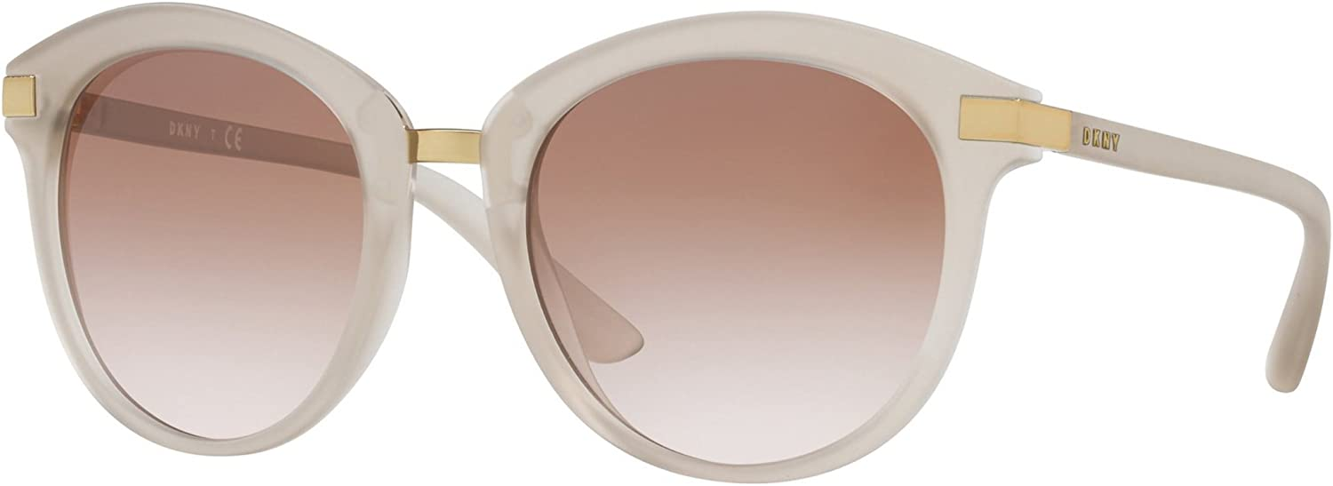 DKNY Women's Injected Woman Round Sunglasses, Nude, 52 mm