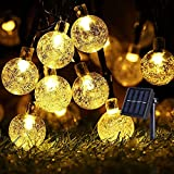 Luci Solari Esterno Stringa, 12 Metri 100 LED Luce Solare Giardino Catena Luminosa di Crystal Globe Impermeabile IP65 Bianco caldo [Classe di efficienza energetica A+++]