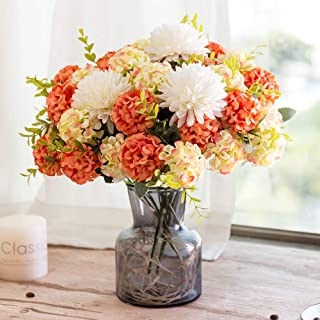YILIYAJIA Artificial Hydrangea Silk Flowers with Glass Vase 33 Head Flower Bulk Arrangement Bouquets for Wedding Home Party Room Table Decoration (Sunset)