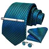 (Teal) - DiBanGu Men's Necktie Solid Silk Tie and Pocket Square Wedding Tie Cufflinks Set Formal