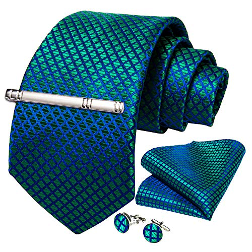 DiBanGu Corbata de los hombres de seda tejida a rayas a rayas corbata pañuelo gemelos corbata clip conjunto formal de negocios boda