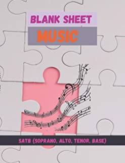 Blank Sheet Music SATB(Soprano Alto Tenor Base), Jigsaw puzzle cover, 100 pages - Large(8.5 x 11 inches)