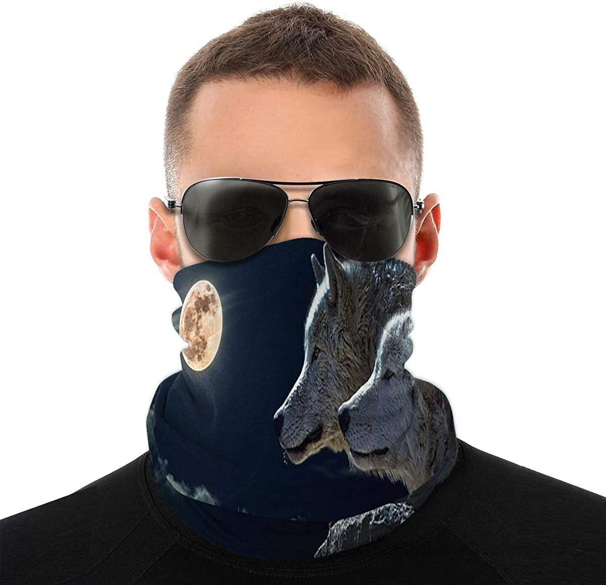 KiuLoam Wolf and Full Moon Seamless Face Mask Bandanas Neck Gaiter for Men and Women, Multifunction Headband Scarf for Dust, Outdoors, Sports