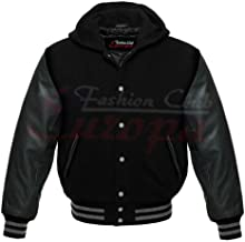 Fashion Club Men's Varsity Real Leather Sleeves/Wool Letterman Jacket W/Hood All Black New (M Regular)