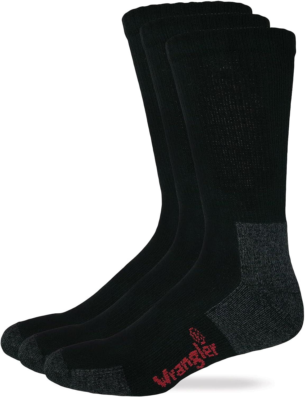 Riggs Cotton Work Boot Crew Socks, Black, Lrg (M 9-13), 3 Pair