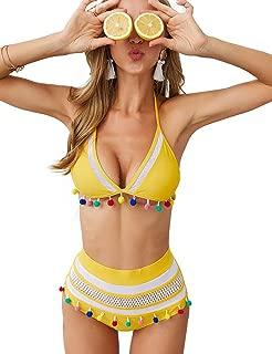 MORL U Women Mesh Halter Straps High Waist Bikini Set Tassel Trim Top Summer Swimsuit
