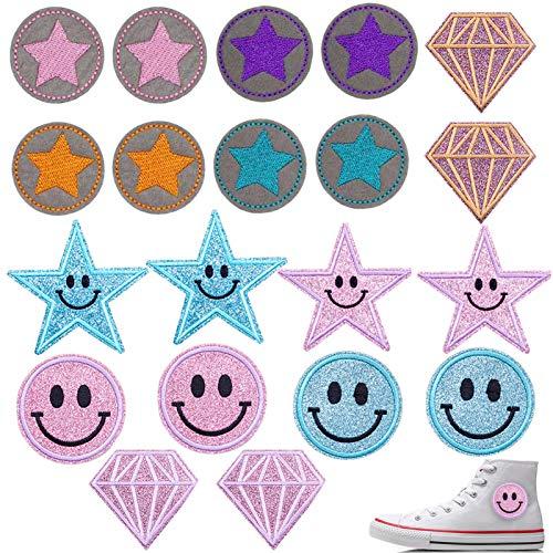 TaimeiMao 20Pcs Aufnäher Kinder Bügelflicken-Set,Flicken PatchesKnie,Applikationen Kinder zum aufnähen geeignet,Aufbügelflicken Applikation Stern,Patch Sticker,Jeans Kleidung Patches