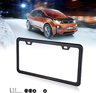cciyu License Plates Frames Car Bottom License Plate Frames for Front Rear Covers 1Pcs 2 Holes Black Licenses Plate Covers for US Vehicles