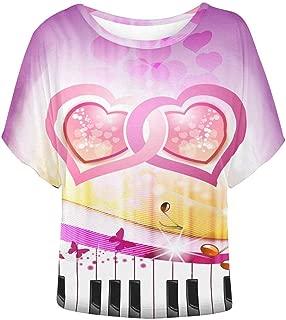 Women Bat Wing Blouse Pets Cat Textile Pattern Top Shirts
