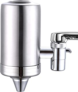 ESOW Faucet Mount Water Filter, SUS304 Stainless Steel Reduce Chlorine,Lead,BPA Free, Water Purifier with 7-Layer UF+ACF Filtration System, Fits Standard Faucets, Two Filter Cartridges Included