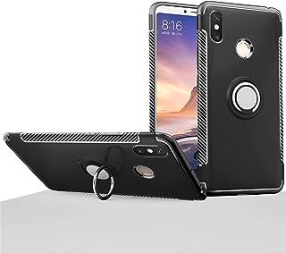 Xiaomi Mi Max3 ケース [360°キックスタンド] 回転リングケース[ TPU デュアルショックプルーフ] 落下 衝撃 吸収 カバー・Xiaomi Mi Max 3 用 (Mi Max3, ブラック)