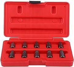 Juego de extractor de tornillo, 10 piezas Extractor de tornillo de 3.2-10.3 mm Cabezal hexagonal de alta resistencia Juego de extractor de tornillo/perno/tuerca estriado para espárragos dañados p