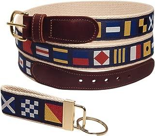 Preston Leather Nautical Code Flag Ribbon Belt, Natural Web, Sizes 30 to 50, FREE Matching Key Ring