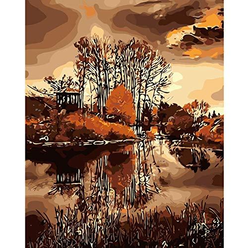 Pintar por Numeros para Adultos Niños Bosque del Mar Amarillo DIY Pintura al Óleo Pintura por Números con Pinceles y Pinturas Decoraciones para el Hogar (40 x 50 cm Sin Marco)