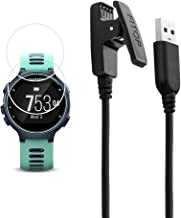 X1 for Garmin Forerunner 735xt Charger Charging Clip Synchronous Data Cable and 2Pcs Free HD Tempered Glass Screen Protector Replacment Charger for Garmin Forerunner 735 Smart Watch